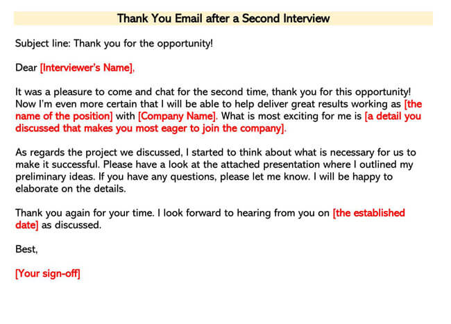 Second Interview Thank You Email