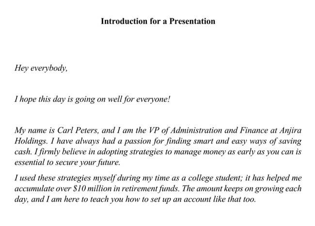 Self Introduction Sample Letter 05