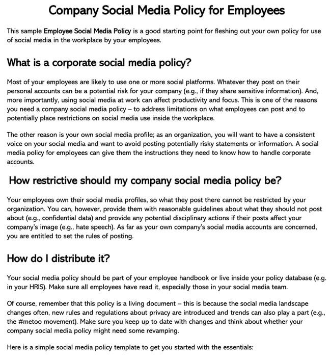 Social Media Policy Template 01