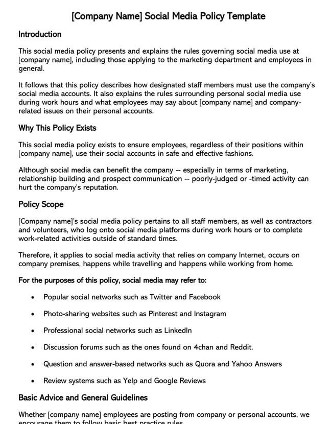 Social Media Policy Template 02