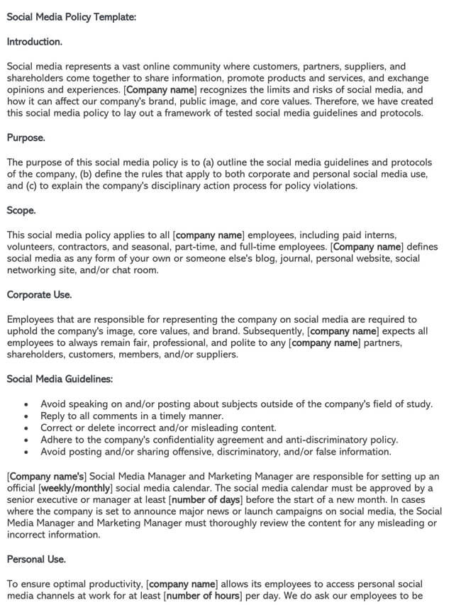 Social Media Policy Template 03