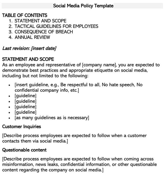 Social Media Policy Template 04