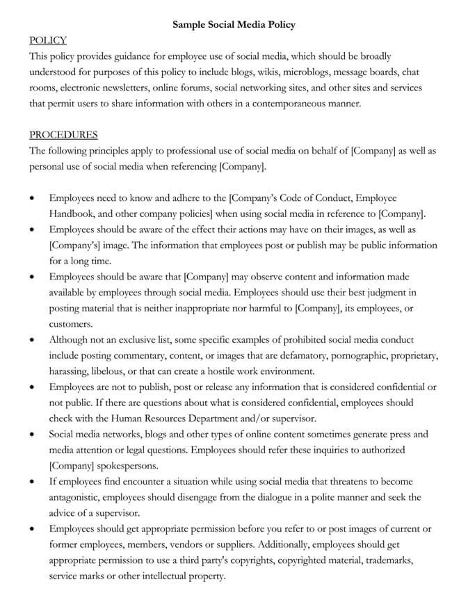 Social Media Policy Template 05