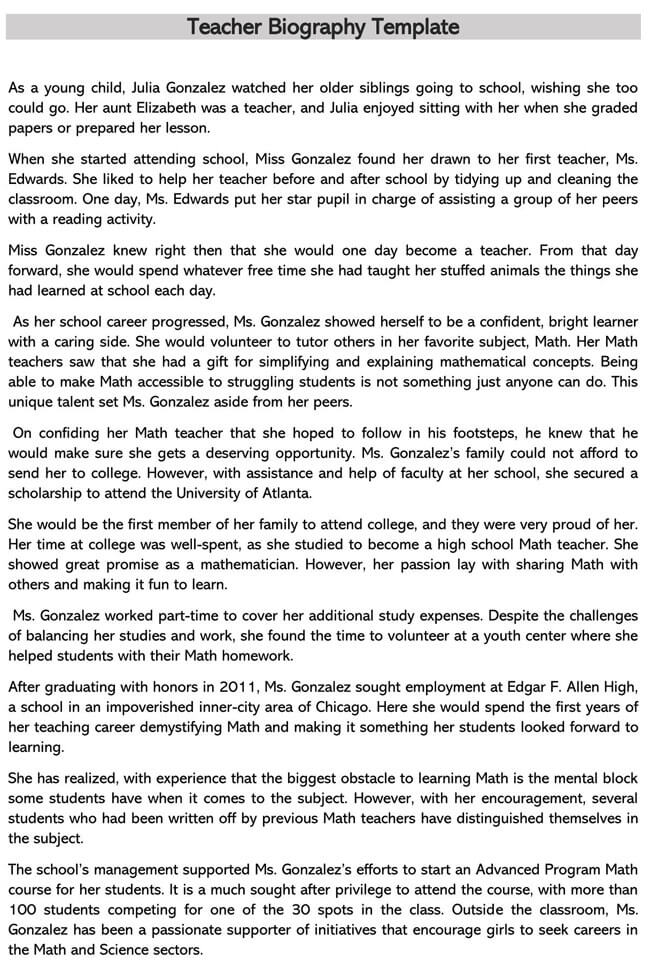 Teacher Biography Template