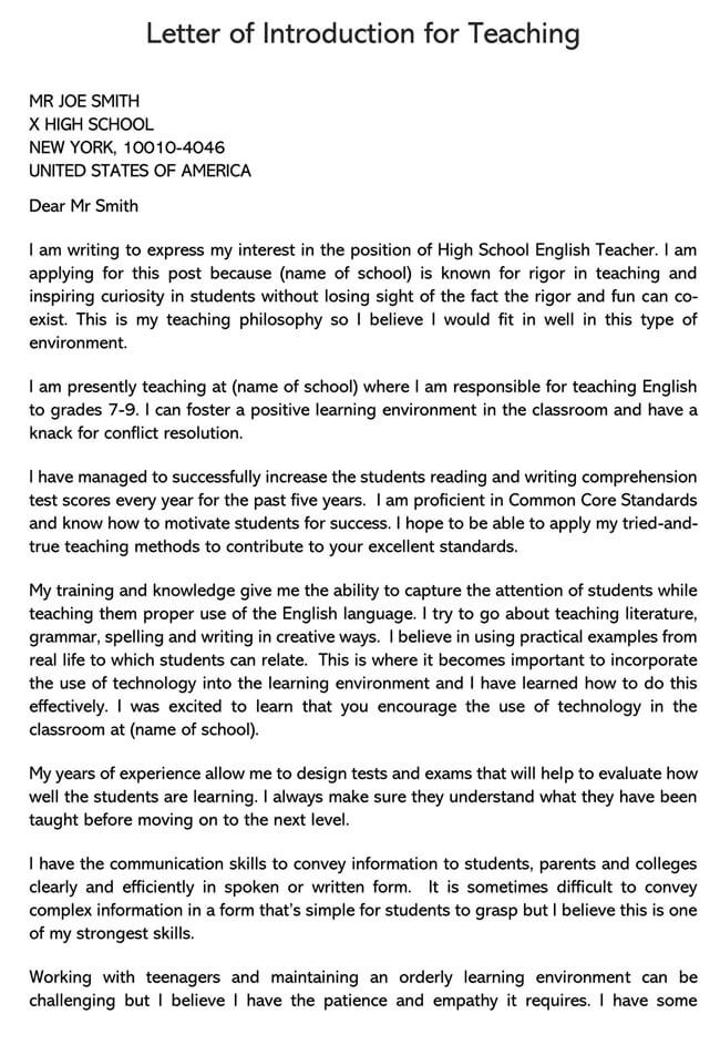 Teaching Job Introduction Letter
