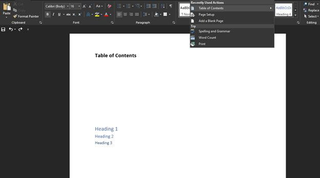 Insert Table of Contents in Word