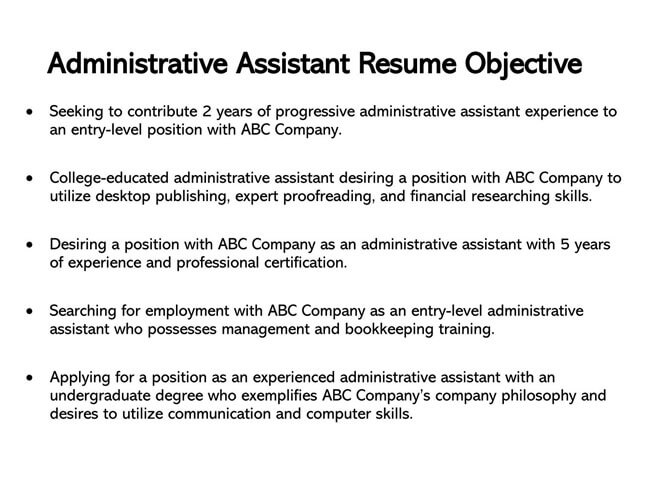 Administrative Assistant Resume Objective 01