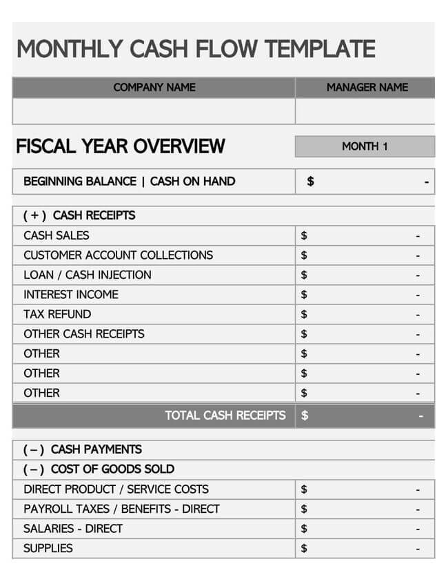 Annual Cash Flow Statement  Template 03
