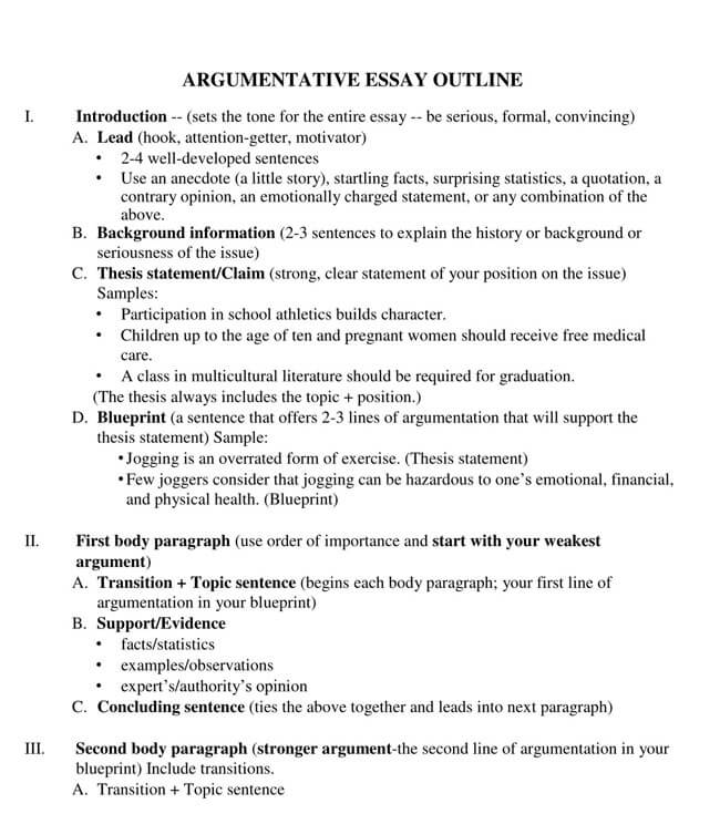 Argumentative Essay Outline 02