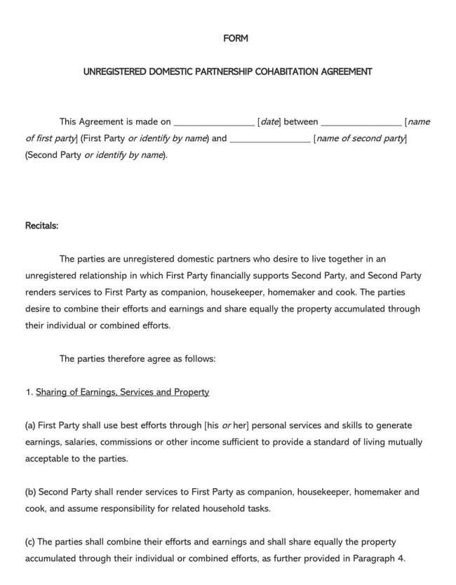 Cohabitation Agreement Template 02