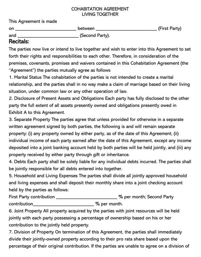 Cohabitation Agreement Template 12