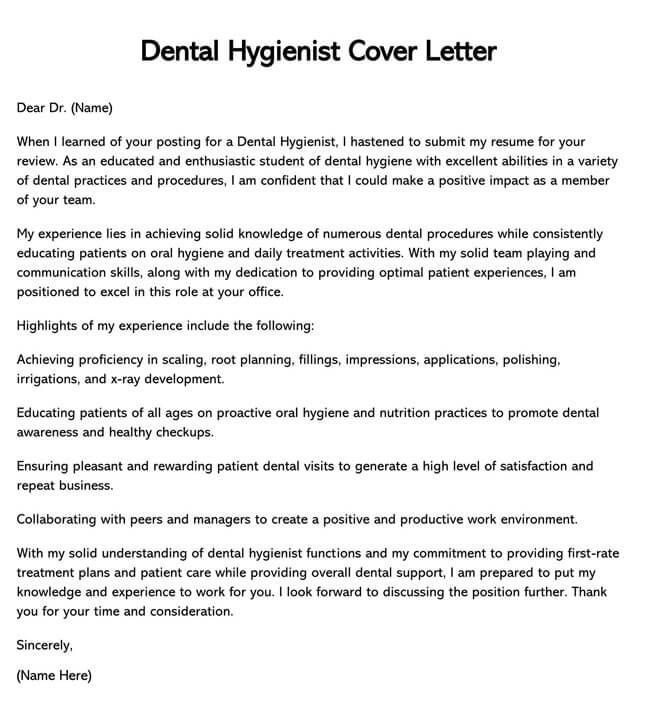 Dental Hygienist Cover Letter 02