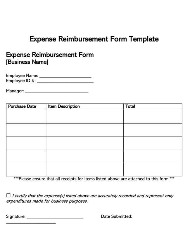 Employee Reimbursement Form Template 02