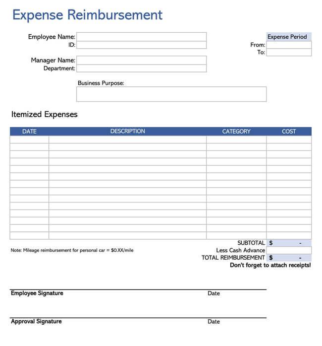 Employee Reimbursement Form Template 04