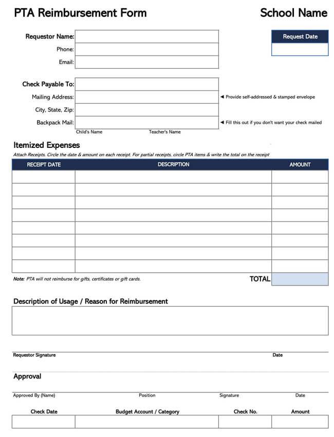Employee Reimbursement Form Template 05