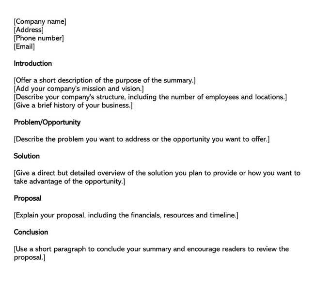 Executive Summary Template 01