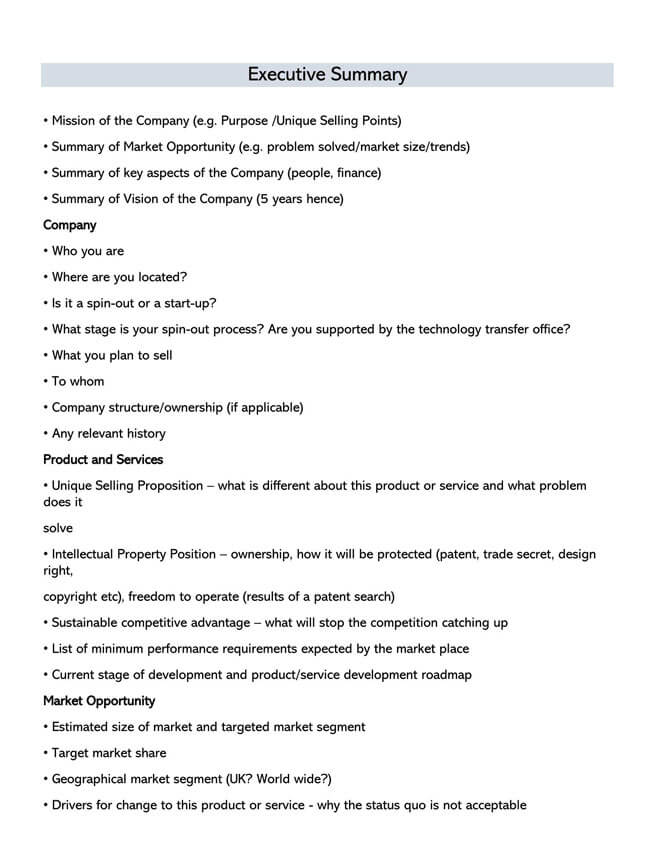 Executive Summary Template 05