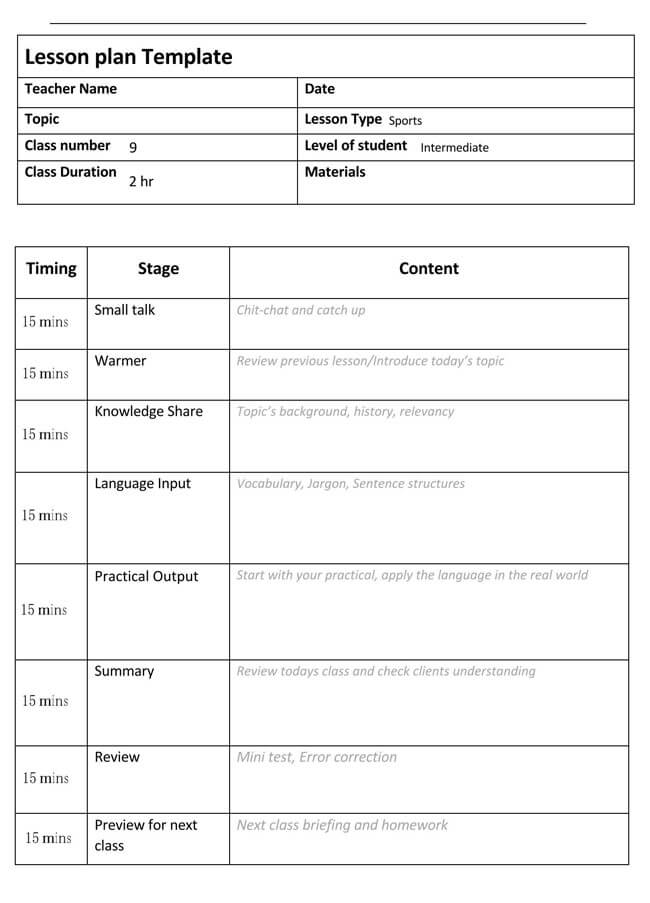 Lesson Plan Template 12