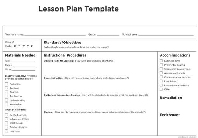 Lesson Plan Template 14