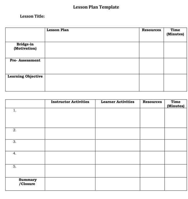 Lesson Plan Template 19