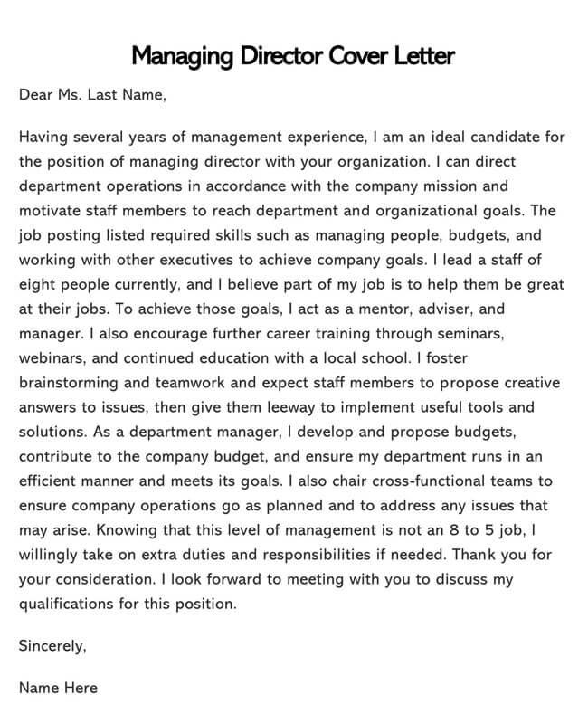 Managing Director Cover Letter