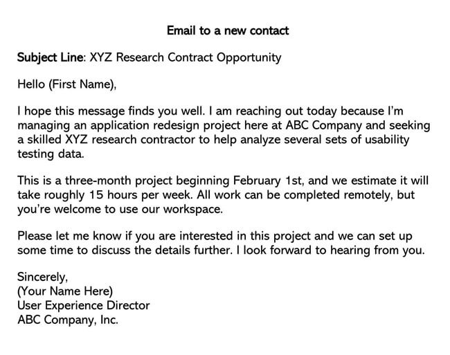 New Contact Professional Email