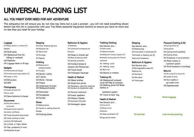 Packing List Template 03