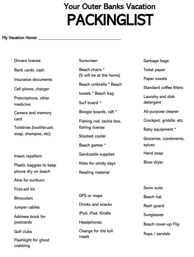 Packing List Template 24