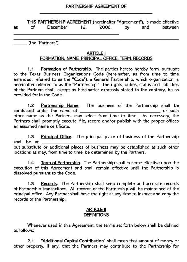 Partnership Agreement Template 02