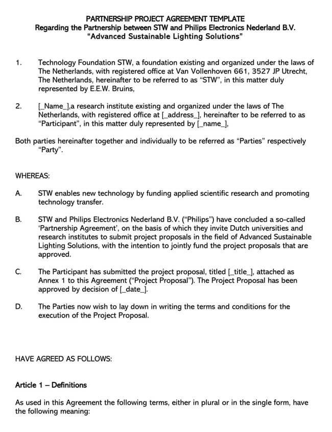 Partnership Agreement Template 14