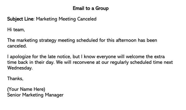 Professional Email to a Group