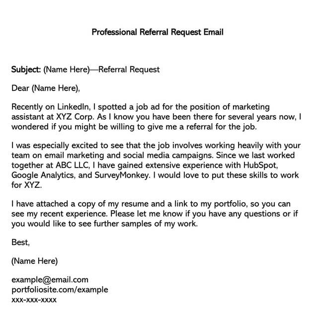 Professional Referral Request Email