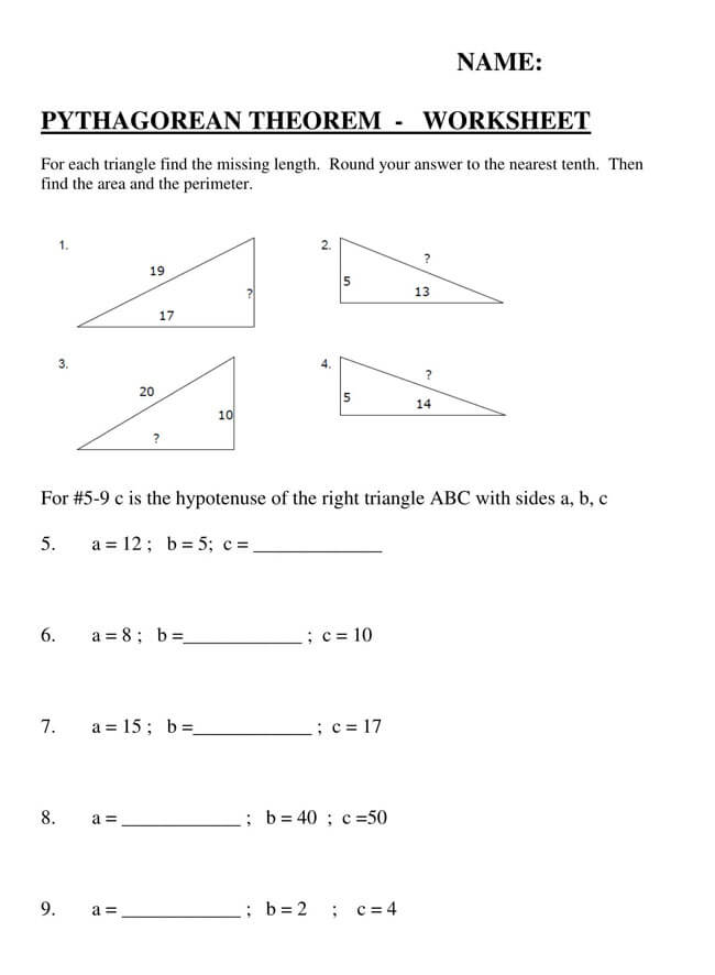 Pythagorean Theorem Worksheet 02