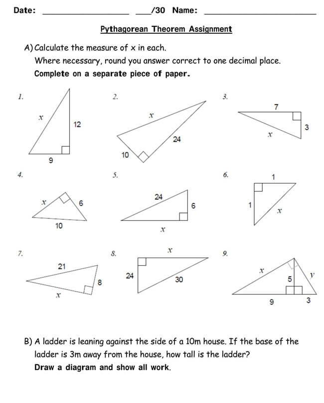 Pythagorean Theorem Worksheet 03