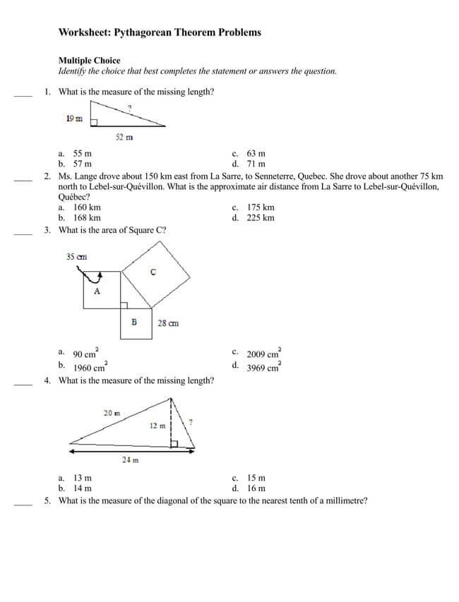 Pythagorean Theorem Worksheet 09