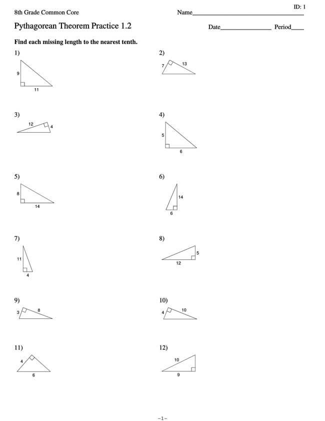 Pythagorean Theorem Worksheet 12