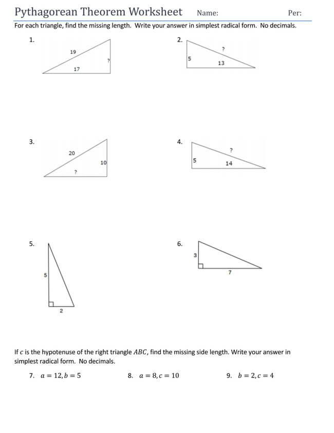 Pythagorean Theorem Worksheet 15