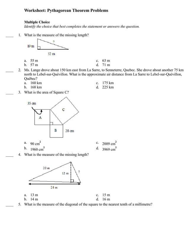 Pythagorean Theorem Worksheet 17