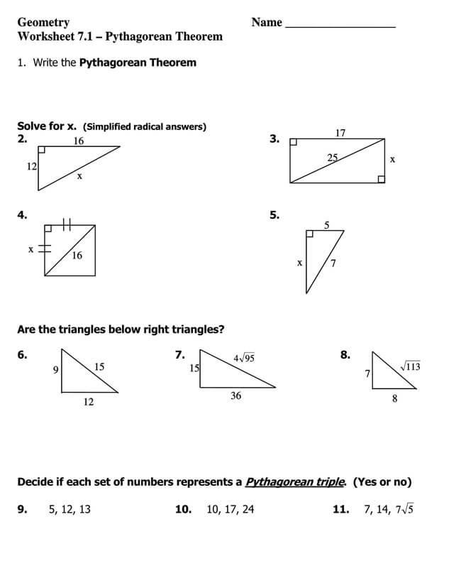 Pythagorean Theorem Worksheet 25