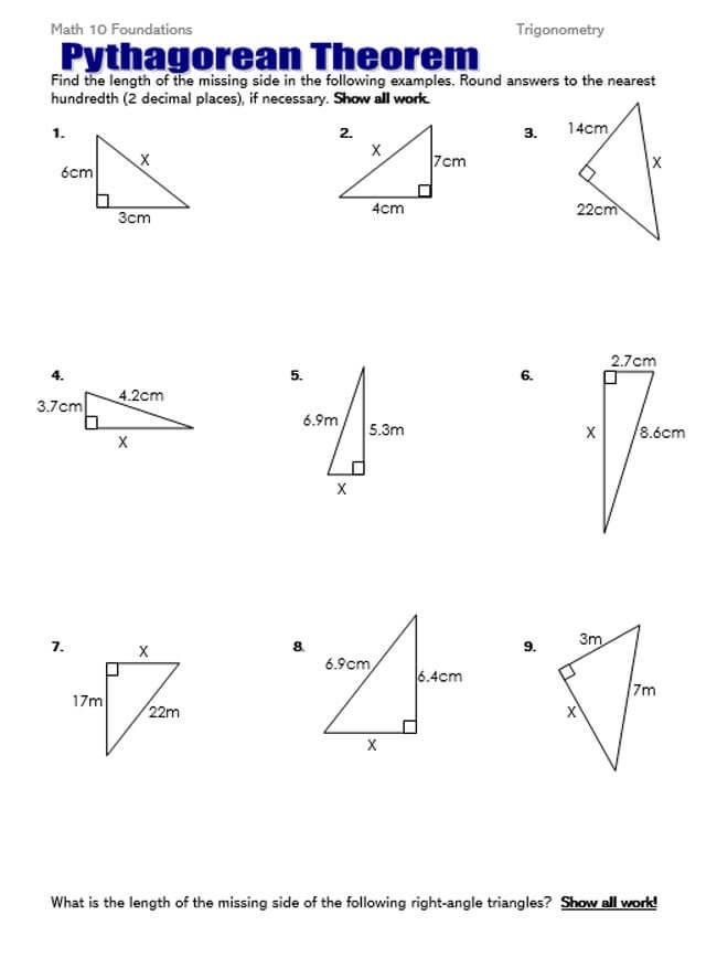 Pythagorean Theorem Worksheet 37