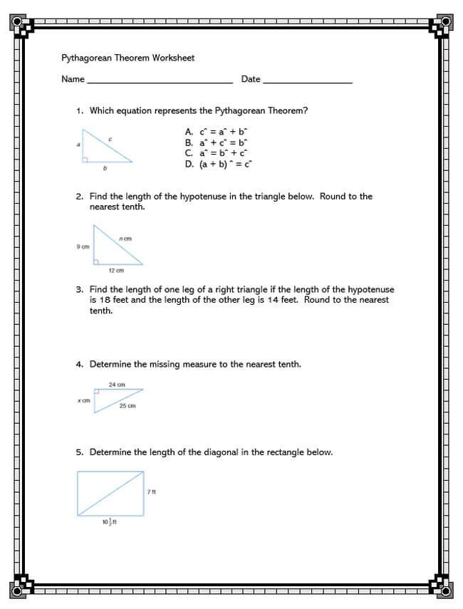 Pythagorean Theorem Worksheet 39