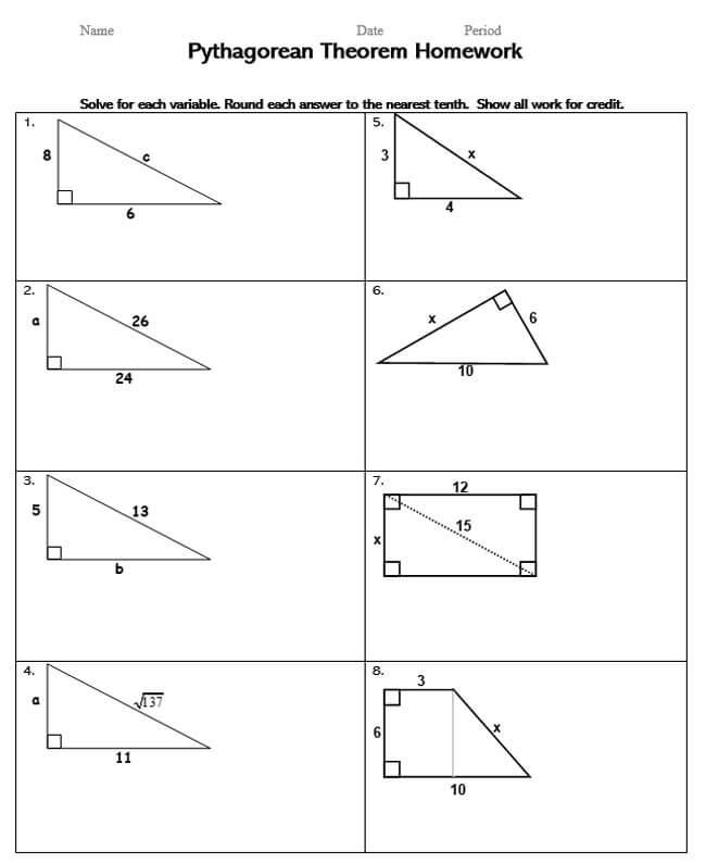 Pythagorean Theorem Worksheet 40
