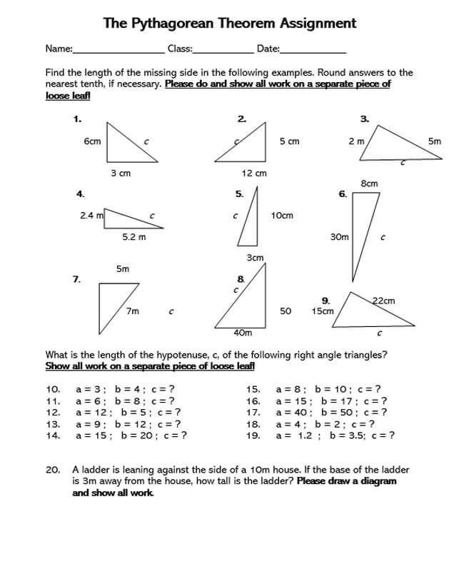 Pythagorean Theorem Worksheet 41