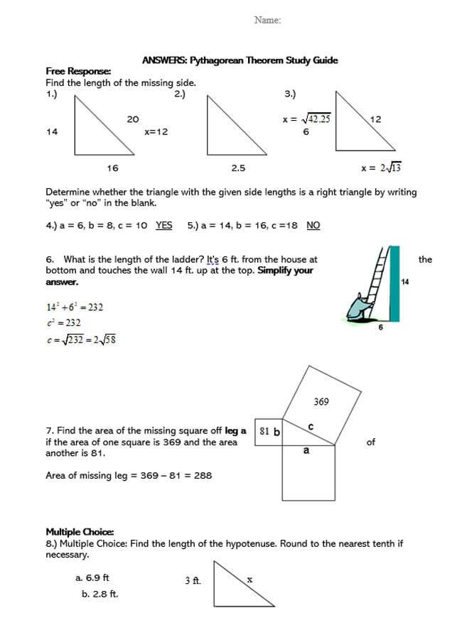 Pythagorean Theorem Worksheet 42