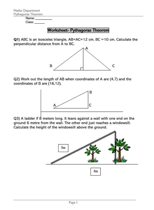 Pythagorean Theorem Worksheet 45