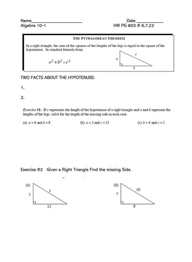 Pythagorean Theorem Worksheet 47