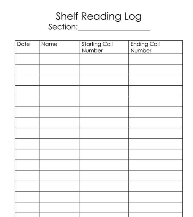 Reading Log Template 04