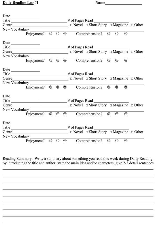 Reading Log Template 06