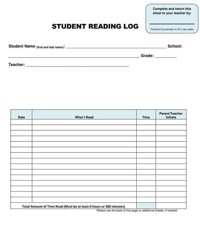 Reading Log Template 11