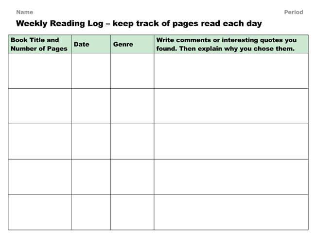 Reading Log Template 12